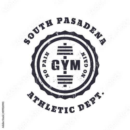 Fotografie, Obraz  Round vintage gym logo, emblem, t-shirt design with grunge texture, vector illus