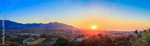 Photo Mountain And Sunset at Mijas, Spain. Mountains on Yellow Sunrise
