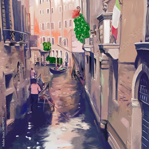 Plakat na zamówienie Venice canal with gondolas and gondoliers. Original digital painting artwork of beautiful Italian architecture. Old european city, cozy street. Colored poster