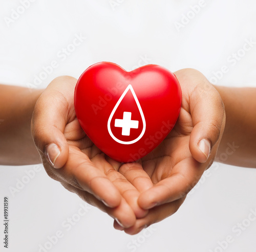 Fotografie, Obraz  female hands holding red heart with donor sign