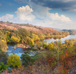 Landscape - Valley of River in Autumn, beautiful sunny day