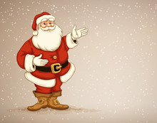 Santa Claus Showing In Empty Place For Advertising. Eps10