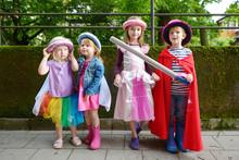 Three Princesses And A Knight Having Fun Outdoors