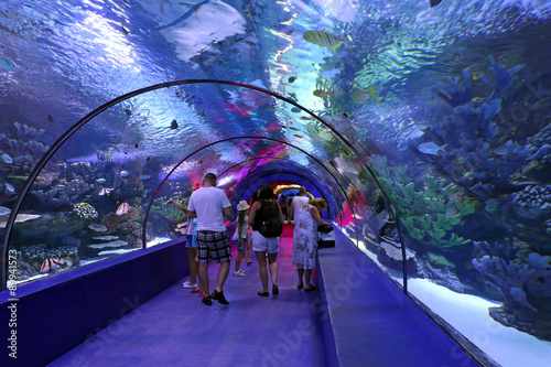 Fotografia People enjoy the underwater view of the aquarium Antalya