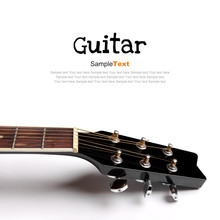 Acoustic Guitar Head On White Background