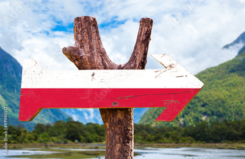 Poland Flag wooden sign with landscape background