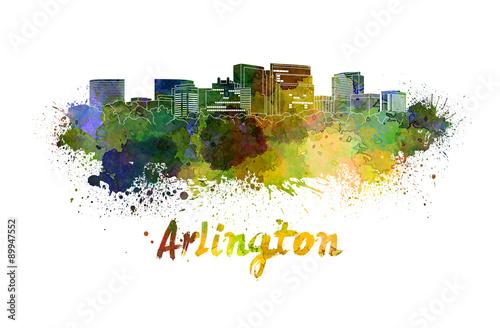 Fotografie, Obraz  Arlington skyline in watercolor