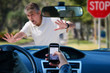 canvas print picture - Irresponsible texting and driving wreck hitting pedestrian