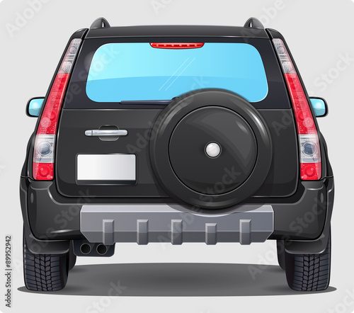 Suv Black Car - Back view Wallpaper Mural
