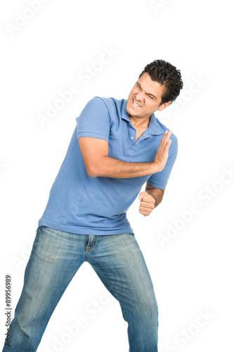 Fotografija  Man Body Weight Pushing Against Side Object