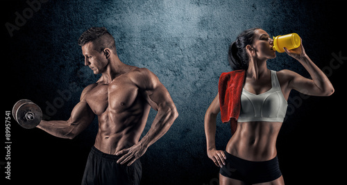 Fotobehang Fitness Athletic man and woman