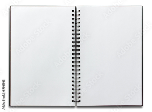 Fotografie, Tablou  open spiral notebook isolated on white