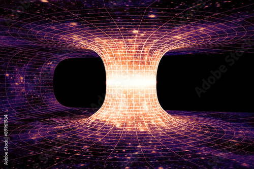 A wormhole, or Einstein-Rosen Bridge, is a hypothetical shortcut connecting two separate points in spacetime Poster