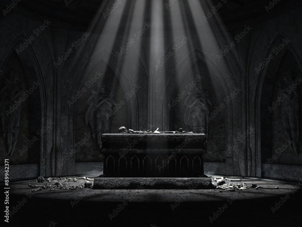 Fototapeta Ciemny ołtarz w krypcie cmentarnej z czaszkami i kośćmi leżącymi na podłodze