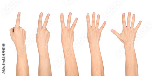Cuadros en Lienzo counting hands on the finger of one to five isolated on white ba