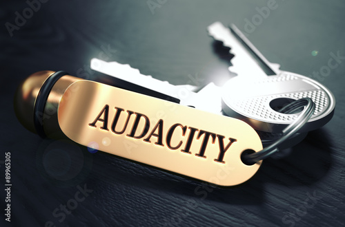 Keys with Word Audacity on Golden Label. Canvas Print