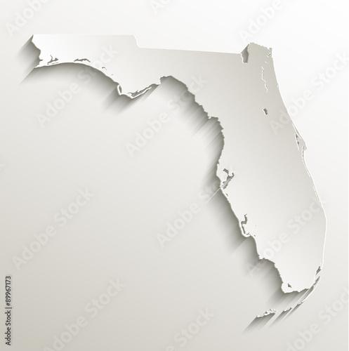 Florida map card paper 3D natural vector Wallpaper Mural