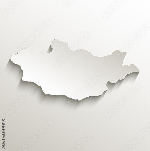 Photo Mongolia map card paper 3D natural vector
