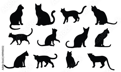 Fototapeta Cat Silhouette, set vector Animals Icons obraz