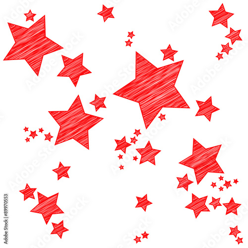 Fotografie, Obraz  Rote Sterne | Scribble Skizze Zeichnung
