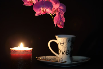 Obraz na Szkle Storczyki orchid flower and candle light