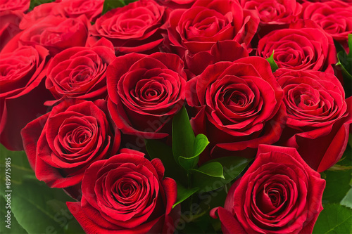 Colorful flower bouquet from red roses for use as background. #89975985