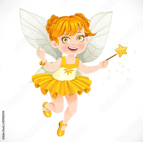 Poster Pony Cute little autumn fairy girl with a Magic wand isolated on a wh