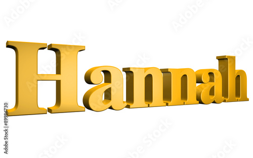 Photo  3D Hannah text on white background