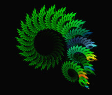 Abstract  Green Spiral Fractal Background On The Black