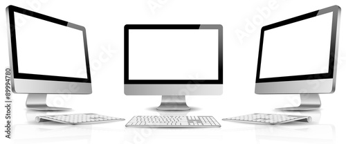Fotografie, Obraz  PC monitor blank screen with keyboard vector set isolated