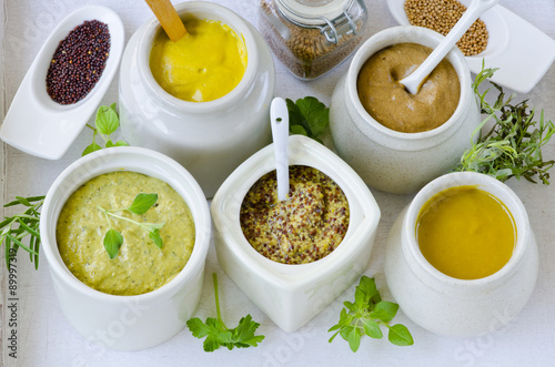 Photo  Herbs and Spices. Variety of Mustards.