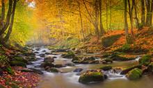 Landscape Magic River In Autum...
