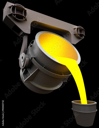 Valokuva  Pouring of liquid metal from the ladle, 3d render isolated on black