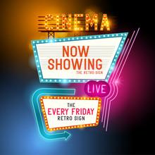 Retro Showtime Sign. Theatre C...