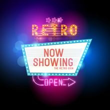 Retro Showtime Sign. Theatre Cinema Retro Sign With Glowing Neon Signs. Vector Illustration.
