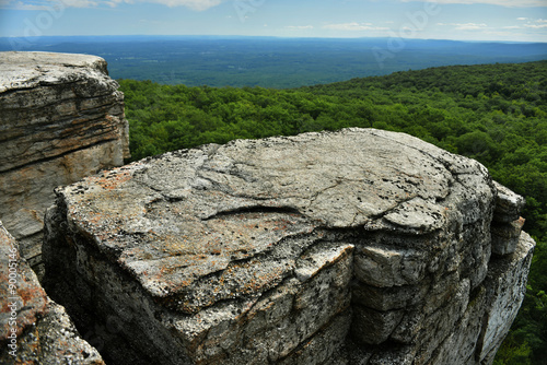 Poster Natuur Park Massive rocks and view to the valley at Minnewaska State Park Reserve Upstate NY during summer time