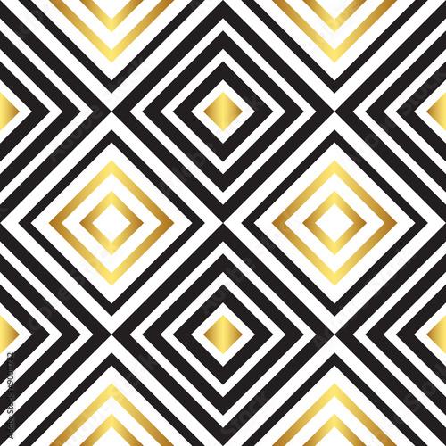 Fototapeta na wymiar Art deco czarno-złoty wzór geometryczny
