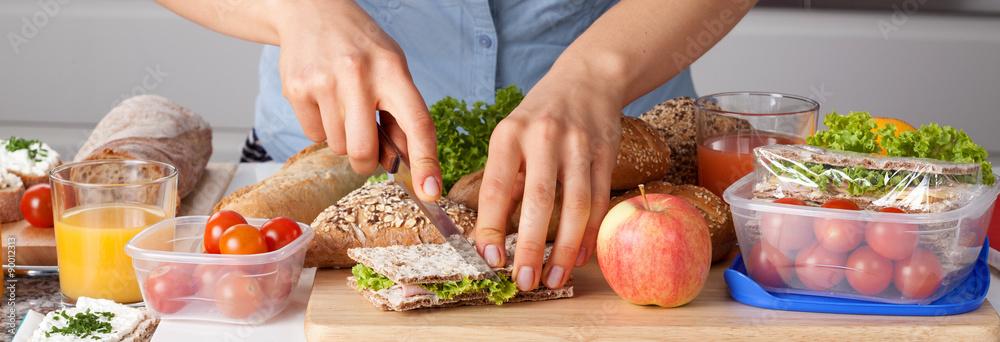 Fototapeta Healthy lunch preparing