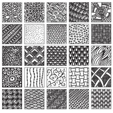 Doodle Pattern Set. Hand Drawing, Relaxed Style. Do Not Seamless