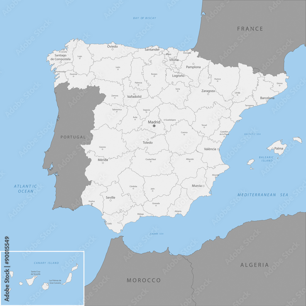 Detailed Map Of Spain.Fotografie Obraz Highly Detailed Map Of Spain Vector Posters Cz