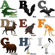 Vector Illustration Of Alphabet Animals From A To I