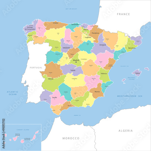 Fotografie, Obraz Highly detailed map of Spanish county, vector.