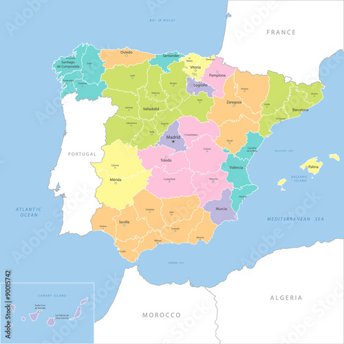 Obraz na plátně  Highly detailed map of Spanish regions, vector.