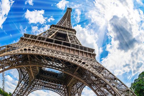 Foto op Plexiglas Eiffeltoren Eiffelturm - Weitwinkel Aufnahme