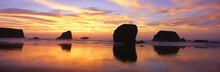 Sea Stacks Rock Formations, Sunset At Bandon Beach, Oregon