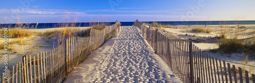 Recess Fitting Beach Pathway and sea oats on beach at Santa Rosa Island near Pensacola, Florida