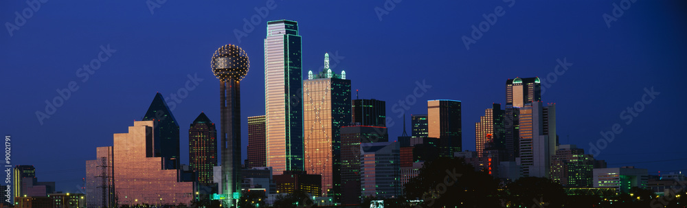 Fototapety, obrazy: This is the skyline at dusk. It shows the Reunion Tower which is 50 stories high.