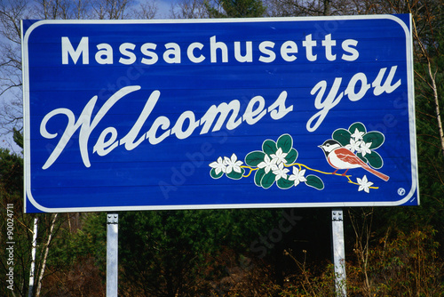 Fotografie, Obraz  This is a road sign that says Massachusetts welcomes you