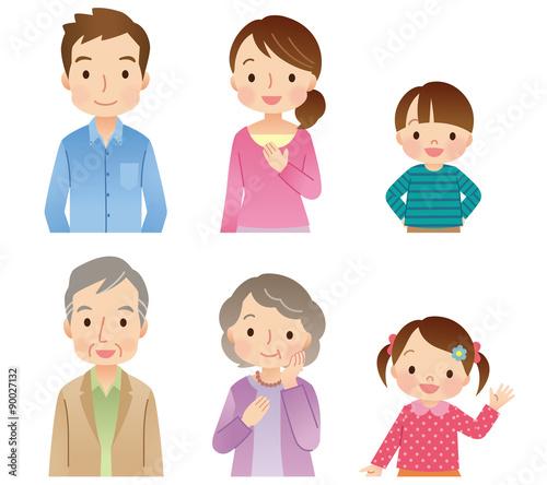 三世代家族 6人 アイコン