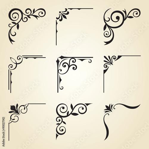 Fotografie, Obraz  Vector illustration of decorative corner frame set.